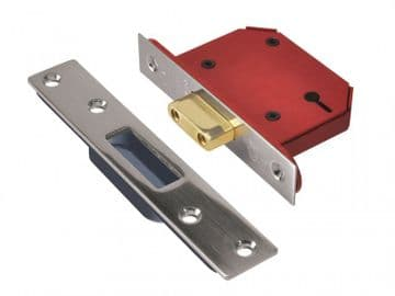StrongBOLT 2103S 3 Lever Mortice Deadlock Stainless Steel 68mm 2.5in Visi